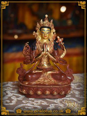Chenrezig Avalokiteshvara Copper Gold Tibetan Buddha Statue