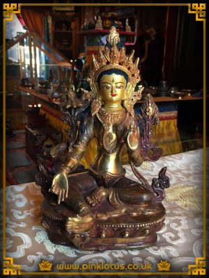 Tibetan Buddhist Green Tara Statue Rupa Copper Gold