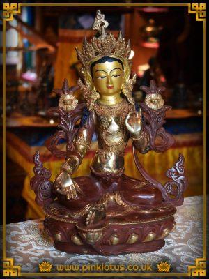 Green Tara Copper Gold Tibetan Buddha Statue