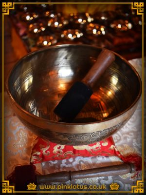 Himalayan Tibetan Hand Beaten Large Etched Singing Bowl Root Chakra