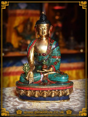 Medicine Buddha Turquoise Lapis Coral Tibetan Buddhist Statue Rupa