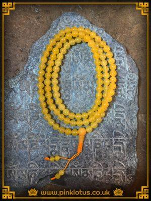 Yellow Jade Tibetan Buddhist Prayer Mala 108 Beads