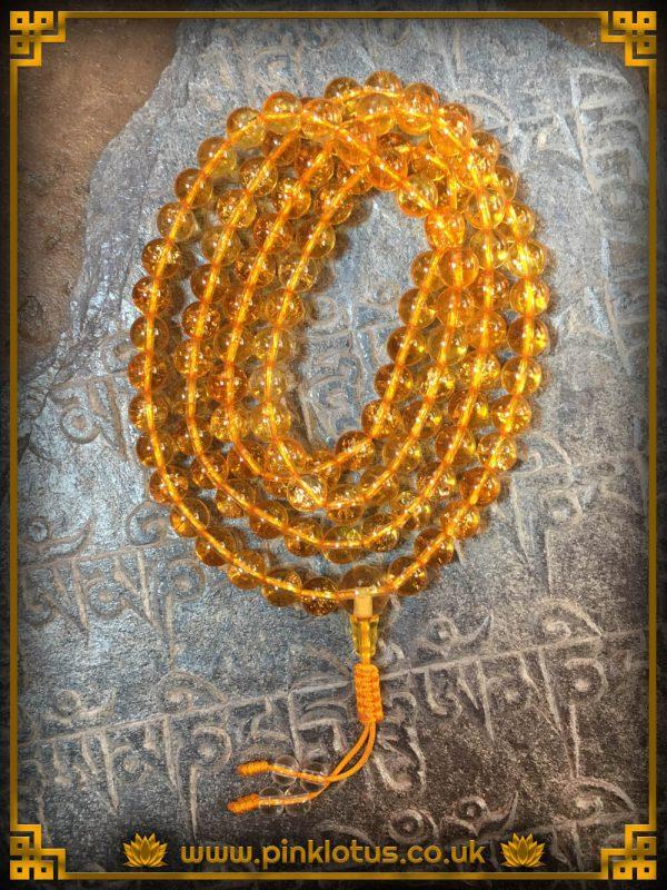 Citrine Tibetan Buddhist Prayer Mala 108 Beads