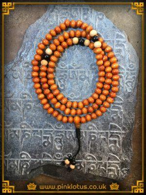 Bhutanese Wood Tibetan Buddhist Prayer Mala 108 Beads