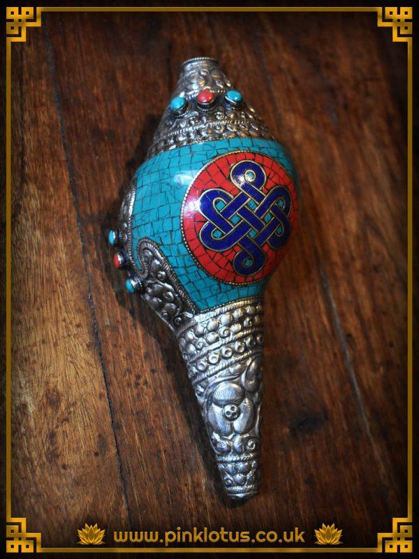 Tibetan Buddhist Turquoise Conch Shell
