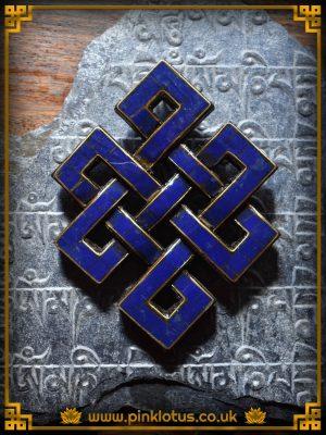 Lapis Tibetan Buddhist Endless Knot Symbol