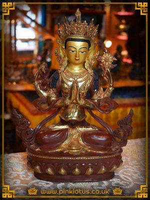 Avalokiteshvara, Chenrezig, Copper, Gold, Buddha, Statue