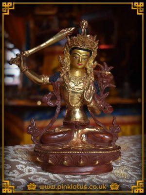 Manjushri Buddha Copper Gold Buddha Statue Rupa