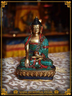 Shakyamuni Buddha Turquoise Lapis Coral Tibetan Buddhist Statue Rupa