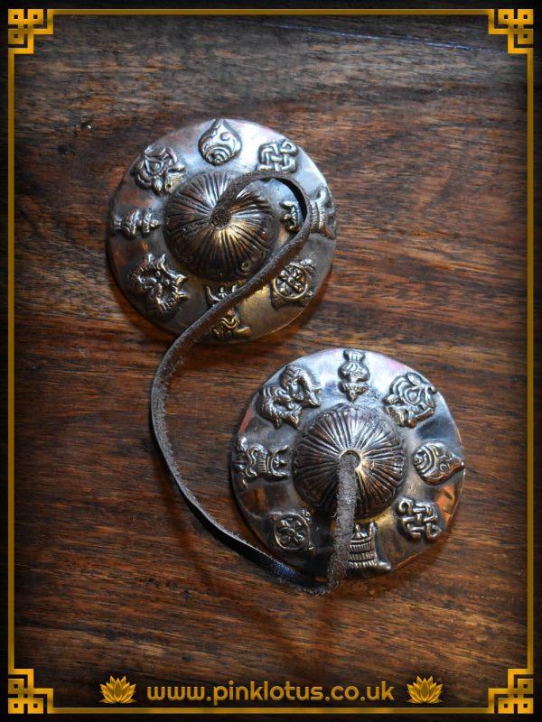 Tibetan Buddhist Tingsha Cymbals Eight Auspicious Symbols