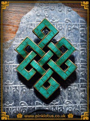 Turquoise Tibetan Buddhist Endless Knot Symbol