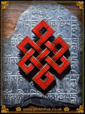 Coral Tibetan Buddhist Endless Knot Symbol