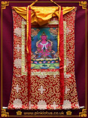 Amitayus Tibetan Buddhist Thangka Brocade
