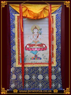 Chenrezig Avalokiteshvara Tibetan Buddhist Thangka Brocade