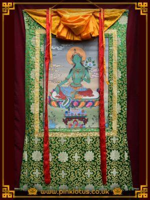 Green Tara Tibetan Buddhist Thangka Brocade