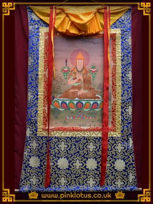 Je Tsongkhapa Tibetan Buddhist Thangka Brocade