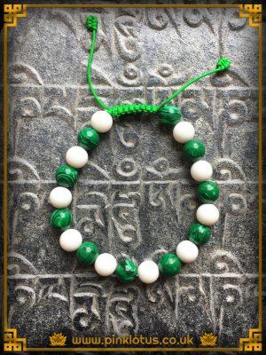 Conch Malachite 20 Bead Mala Bracelet